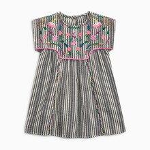Little Maven New Summer Kids Cute Short-sleeved Striped Floral Embroidery Botton O-neck Woven 1-6yrs Cotton Girls Dresses