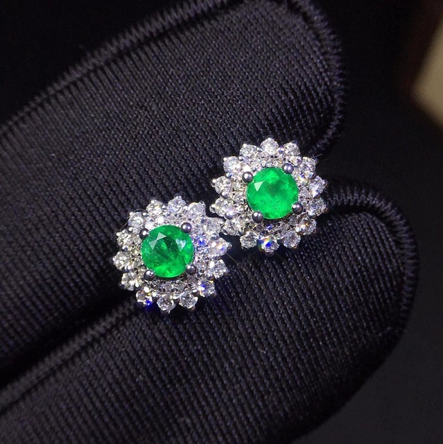 Fine Jewelry Collection Real 18K White Gold AU750 100% Natural Emerald Gemstones Colombia Origin Stud Earrings for Women