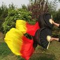 Новое поступление 1 пара ( левый + правый ) 180 см танец живота китайский натурального шелка вентилятора вуали + красный + желтый огонь цвет