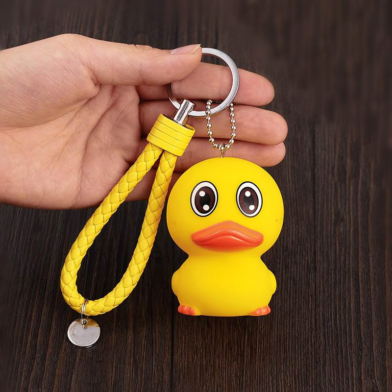 [LORDUPHOLD] Car Big Duck Keychains With Hairball Rope Key Rings Cute Auto Accessories Gift For