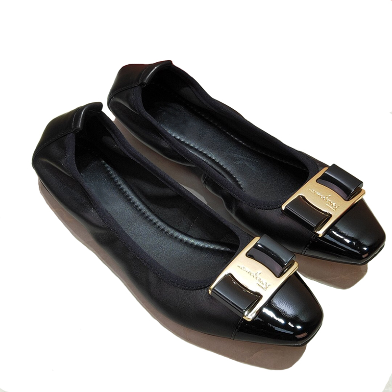 Brands Genuine leather Slip On Ballet Flats Shoes For Women Slip On Metal decoration Flat Shoes