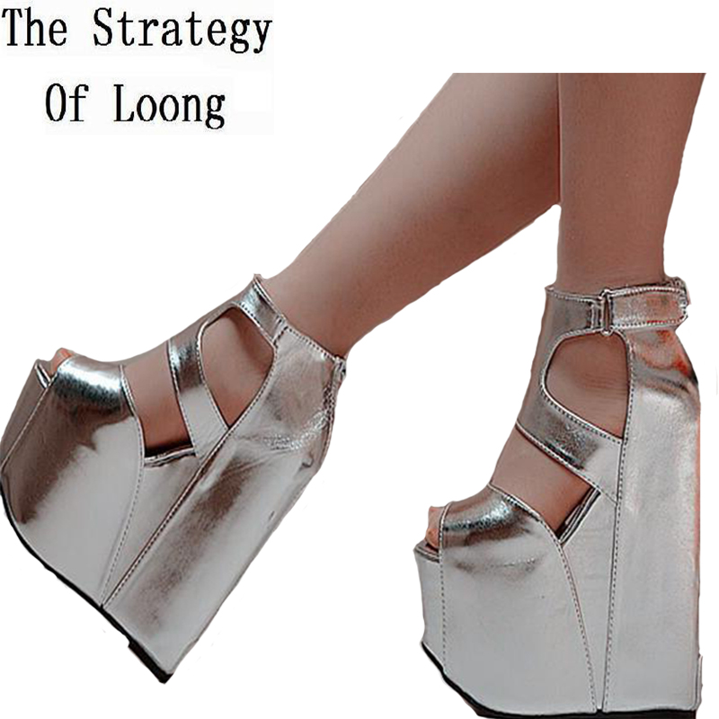 Women 2019 New Rome Height Increasing Cutout Super High Heels Sandals Platform Pure Color Fashion Sexy High Heel Shoes-in High Heels from Shoes    1