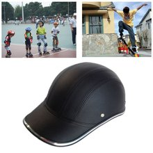 купить NewestMotorcycle Bicycle Scooter Half Helmet PU Leather Baseball Cap Style Unisex Fashion Hard Hat Open Face Safety Helmet дешево