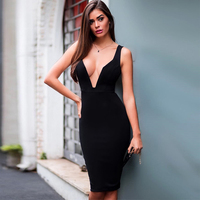 Summer Bandage Dress Vestidos Sexy Deep V Neck Red Black Bodycon 2018 Fashin Show Night Party Sleeveless Women Dresses Wholesale