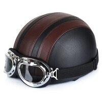 Xe máy Mũ Bảo Hiểm Tổng Hợp Da Xe Máy Cổ Điển Cruiser Touring Mở Mặt Nửa Động Cơ Xe Tay Ga Mũ Bảo Hiểm & Visor & Goggles