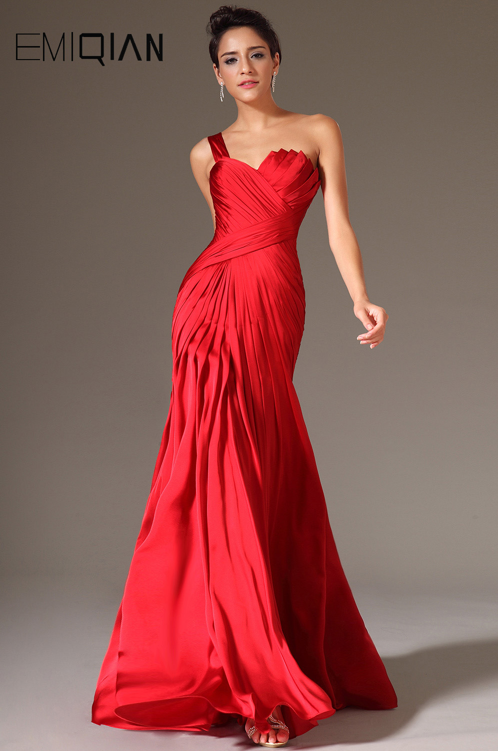 Free Shipping New Sexy One Shoulder Red Satin Evening
