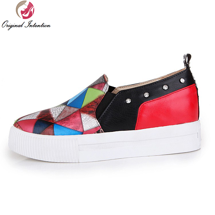 ФОТО Original Intention New Fashion Women Casual Shoes Popular Round Toe Red Yellow Black Multicolors Shoes Woman US Size 4-10.5