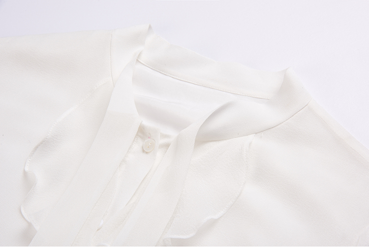 oficina Camisa Seda Mora Larga 01 De corte de Manga cordones camisa Blanca Blusas Tops Las Señoras Gasa 100 blusa Purfle Collar HHrqf6Sp