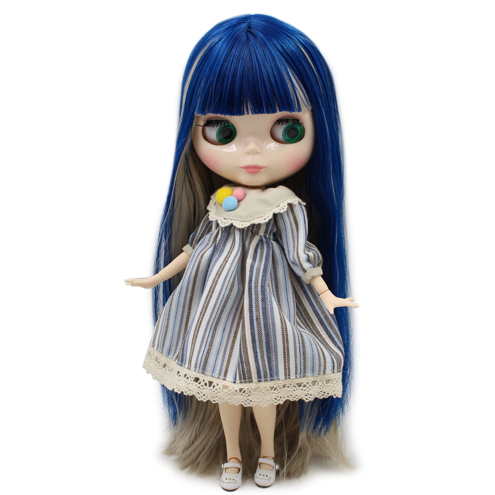 ICY Nude Factory Blyth Doll No BL8003 1714 Blue mix Grey hair white skin Joint body