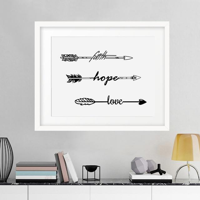 US $13.29 30% OFF|Neue ankunft Modernen minimalistischen stil Liebe  Hoffnung pfeile wandkunst malerei Leinwand poster schlafzimmer wohnzimmer  home ...