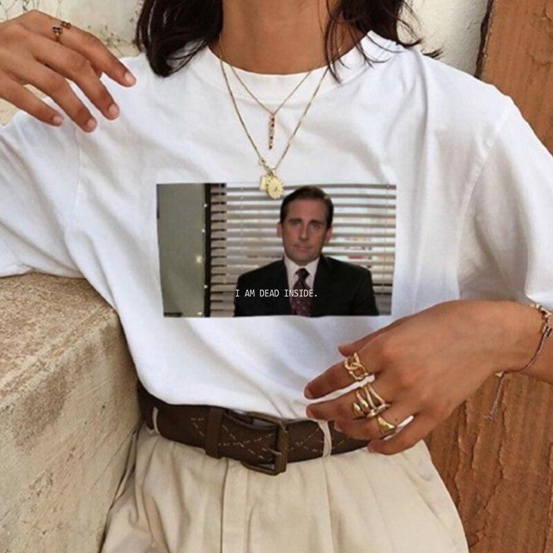 Je suis mort à l'intérieur citations drôle T-shirt le bureau Michael Scott T-Shirt unisexe Tumblr T-shirt blanc chemises Femme livraison directe