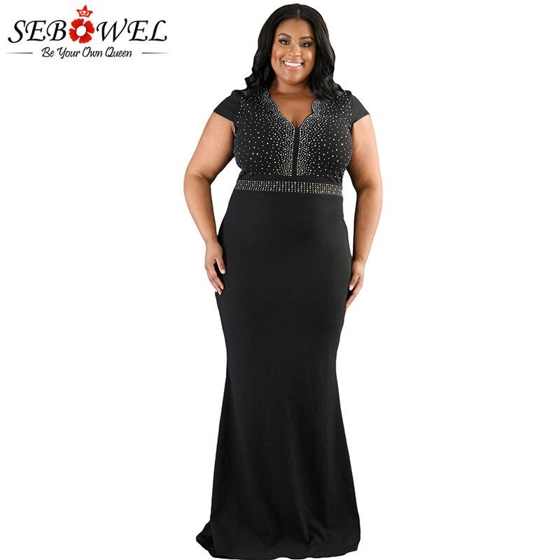 SEBOWEL Sexy Plus Size Black Rhinestone Maxi Party Dress Women Elegant Bodycon  Dress Evening Gown Lady 6c805e7d478a