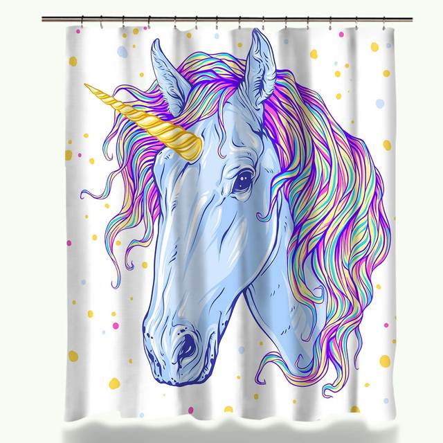 Miracille Waterproof Polyester Fabric Colorful Unicorn Castle Design Shower  Curtain Home Decor Bathroom Accessories With Hooks