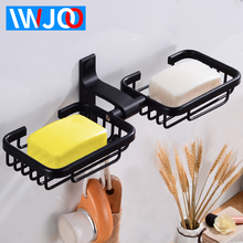 Soap Holder Shower Aluminum Black Double Dish Storage Wall Mounted Bathroom Accessories Dishes Box with Hook