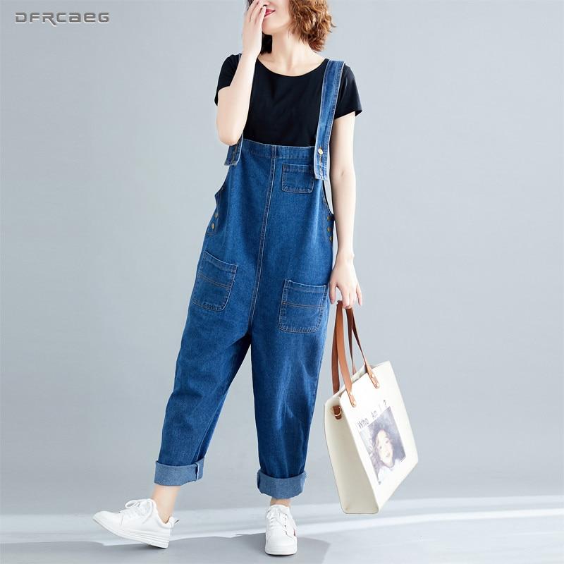 Big Size Loose Denim Rompers Womens Jumpsuit 2019 Summer Casual Streetwear Suspender Jeans Pants Overalls Female