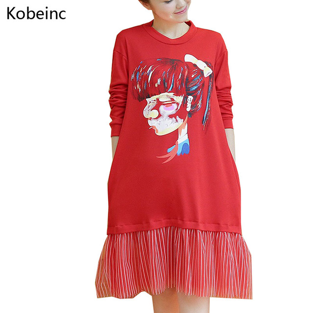 2017 Spring Printing Maternity Patchwork Pleated Dresses Plus Size Clothes For Pregnant Women Long Sleeve Gestantes Vestidos