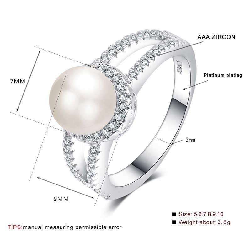 Элегантное круглое жемчужное кольцо для женщин с AAA кубическим цирконием обручальные серебряные кольца модные вечерние ювелирные изделия подарок anillos mujer
