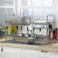 Multi Layered Kitchen Dish Rack Iron Dish Drainer Stainless Steel Sink Drain Rack Kitchen Rack Storage Shelf Kitchen Organizer
