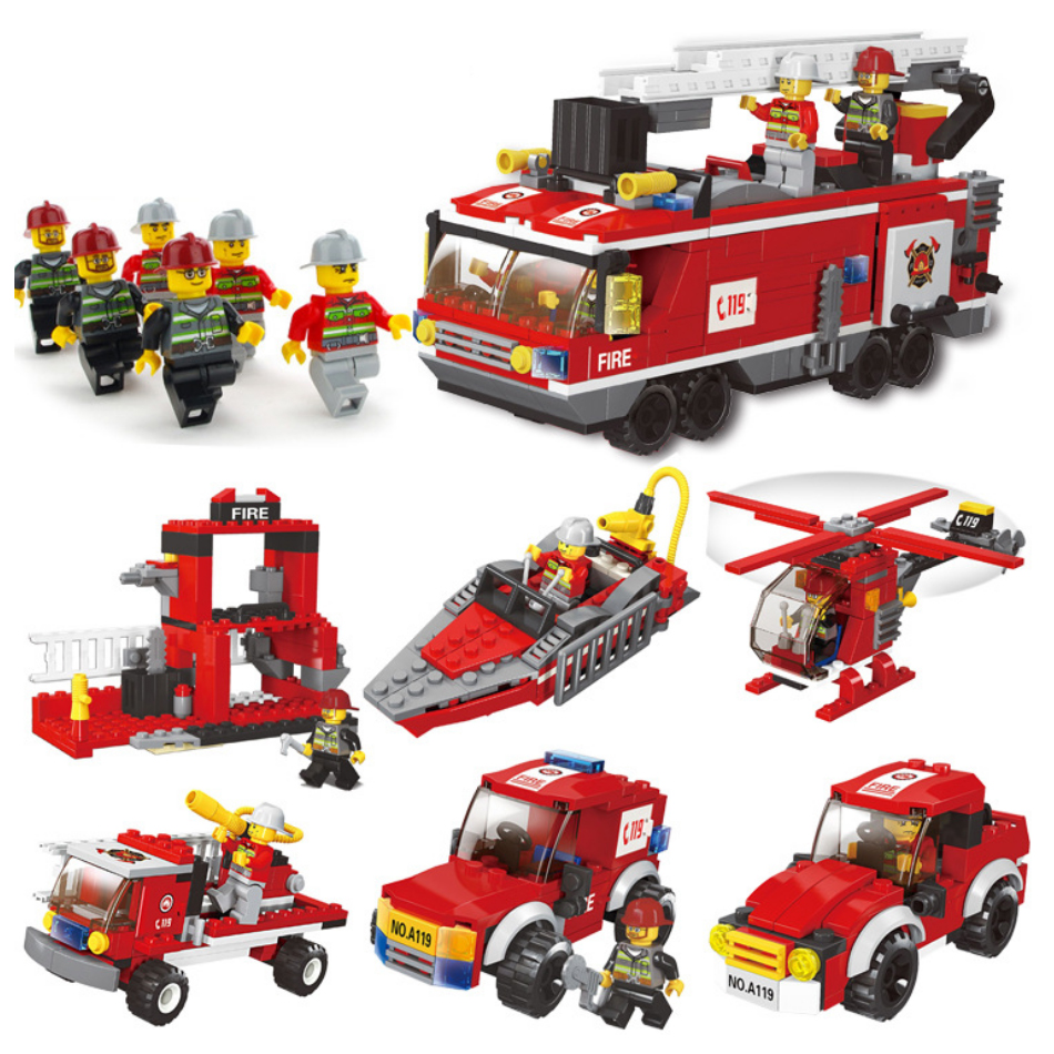 Firefighting Series Mini Fire Trucks Cars Fireman Figures Building Blocks Compatible Legoingly City Diy Assemble Toys For Kids Blocks