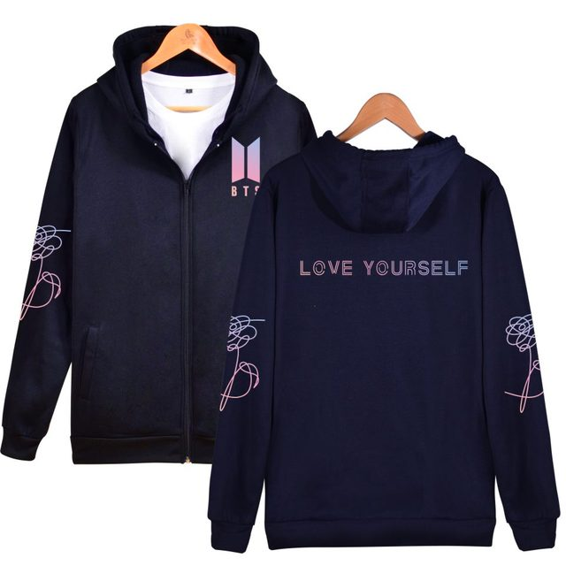 NEW BTS Love Yourself Logo Hoodie Hoody Sweater Sweatshirt Pullover Longsleeve Zipper Zipup