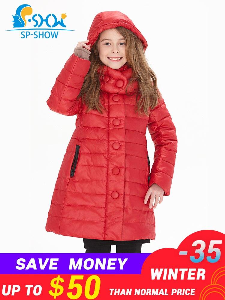 Crianças Para Baixo Casacos SHW jaqueta de Inverno para baixo Casaco Mais Grosso Casaco Quente Nova Moda Para Crianças Grandes Da Menina Jaqueta de Inverno Luxuoso marca