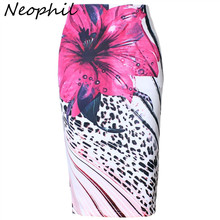 Neophil Fashion Plus Size Flower Floral Leopard Printed  High Waist Winter Ladies Knee Length Slim Sexy Pencil Skirts Saia S1005