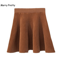 MERRY PRETTY Autumn High Waist Knitted Skirts Women Pleated mini Skirt Sweet Elastic Flared Skirt Female midi Short Skirt Girl