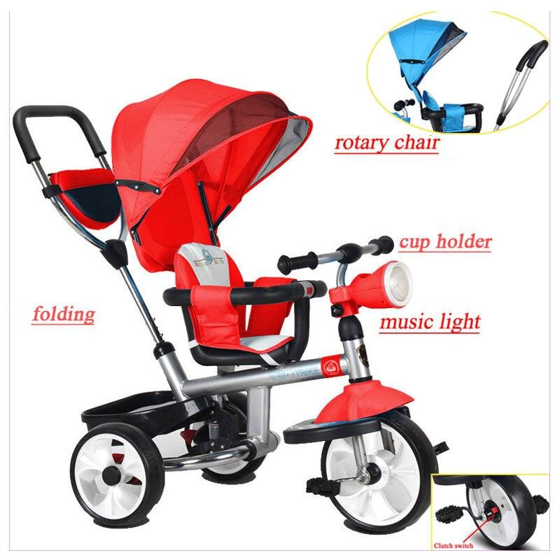 Chaise rotative pliable enfants Tricycle chariot bébé vélo poussette bébé chariot avec 3 roues vélo Jogging poussette vélo