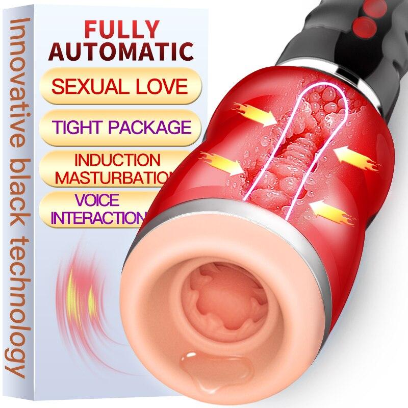 цена на Sex Products Male Masturbator Electric Real Oral Sucks Throat Clip Suction Sex Machine Vibration Sex Moan Interaction Sex Toys
