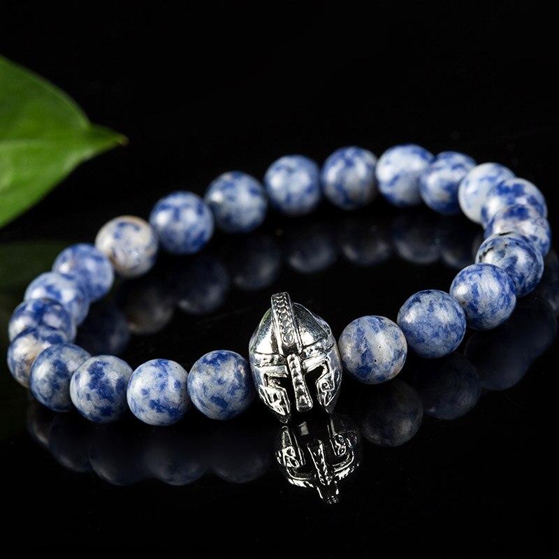 20a104d36d33 Mens bracelet 2016 bracciale elastic rope blue dot natural stone bracelet  pulsera silver helmet bracelets pulseras hombre bijoux