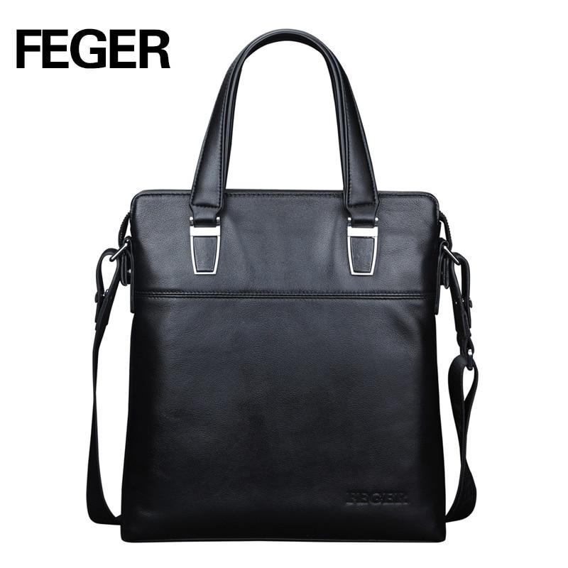 FEGER גברים חדשים מגיעים תיק היד תיק עור באיכות גבוהה תיקי כתף אופנה שחור