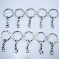 10Pcs DIY Silver Tone Keyring Blanks Key Chains Split Rings with 4 Link Chain