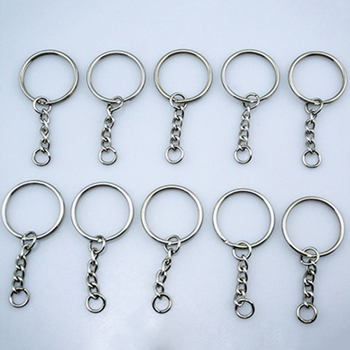 10Pcs DIY Silver Tone Keyring Blanks Key Chains Split Rings with 4 Link Chain 100pcs key rings metal split rings flat key chains rings black silver 25mm 32mm