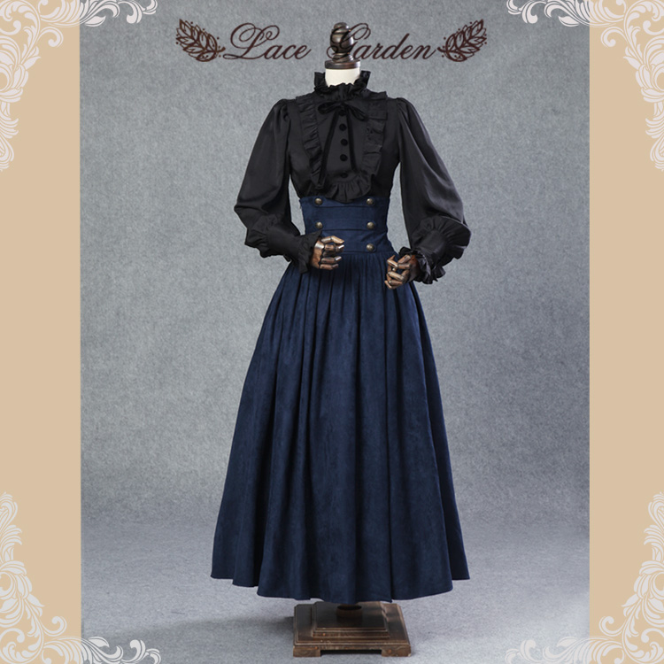 Vintage Steampunk Skirt Victorian Gothic High Waist Long Maxi Skirt with Lace up Waist by Lace