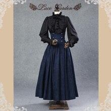 Винтажная юбка в стиле Стимпанк Викторианский готический стиль с высокой талией длинная юбка макси с кружевной талией