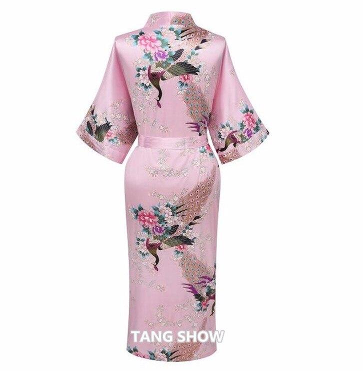 ba7abe8cb11f Elegant Pink Bunga Wanita Silk Satin Kimono Yukata Gaun Sexy Bride ...