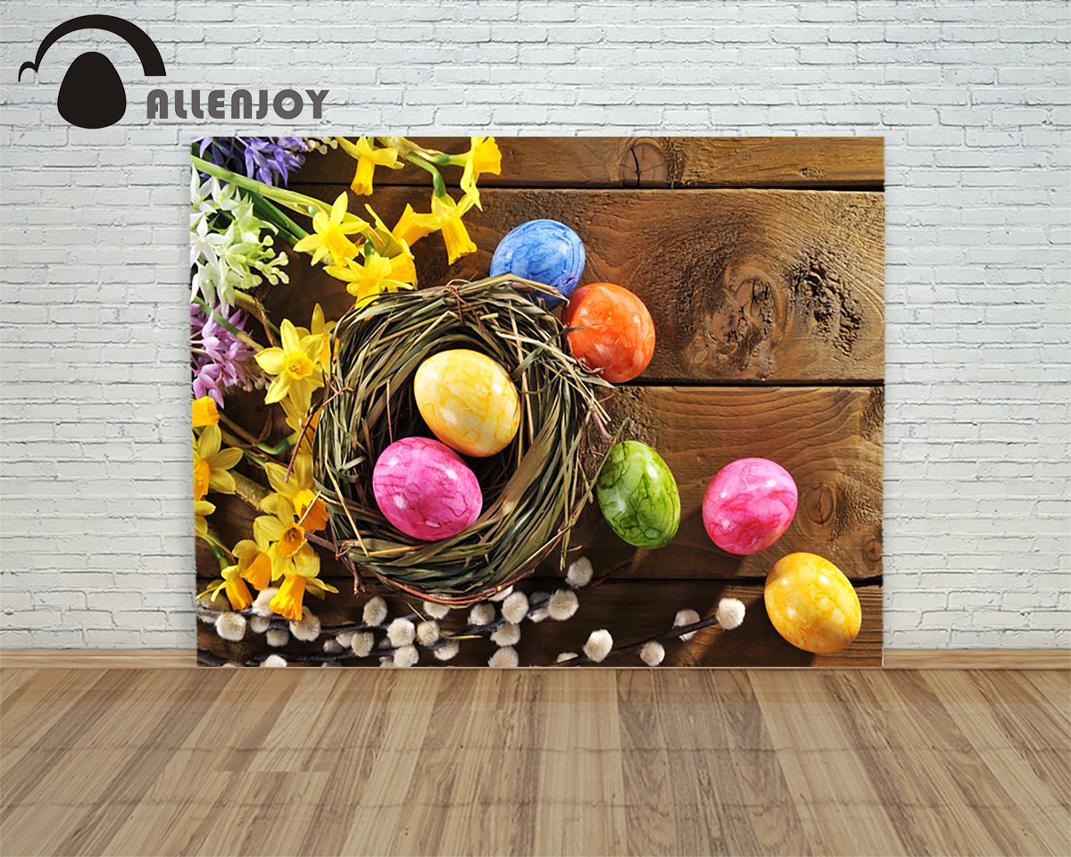 Allenjoy background Happy easter eggs wood bird nest flower colorful children photography backdrop