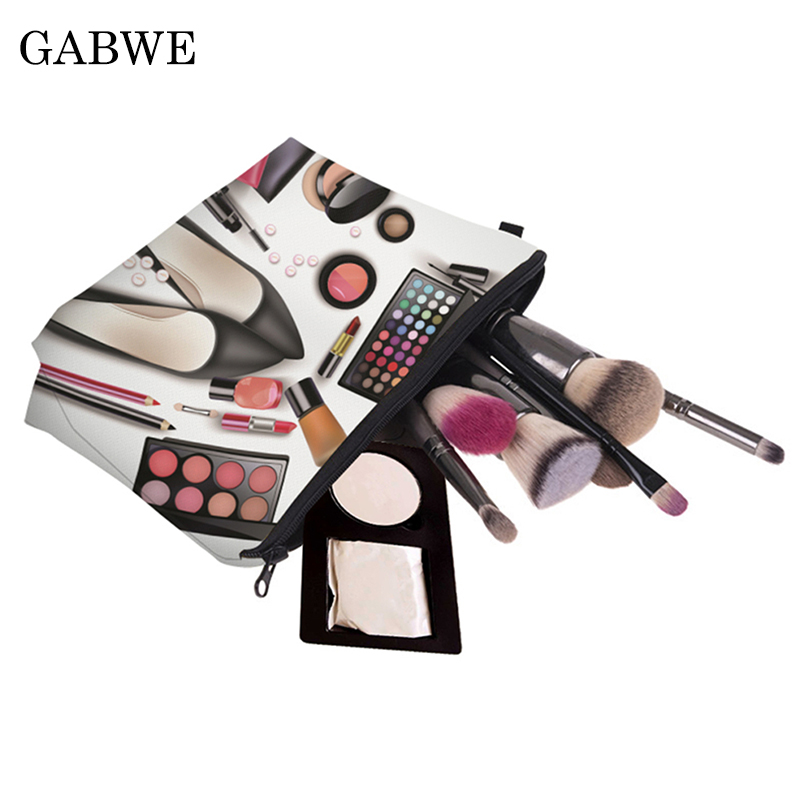 GABWE Printed Shoes Black Toiletry Makeup Bag Brush Bags Organizer Necessaires Travelling Storage Zipper Cosmetic Case For Women