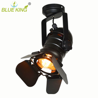 loft bar wall industrial iron ceiling light black color clothes store led ceiling lamp spot lights adjustable with track mount