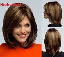 Synthetic Short Bob hair brown wigs blonde highlights bob wigs for women lady Short straight hair Wigs side bangs false hair