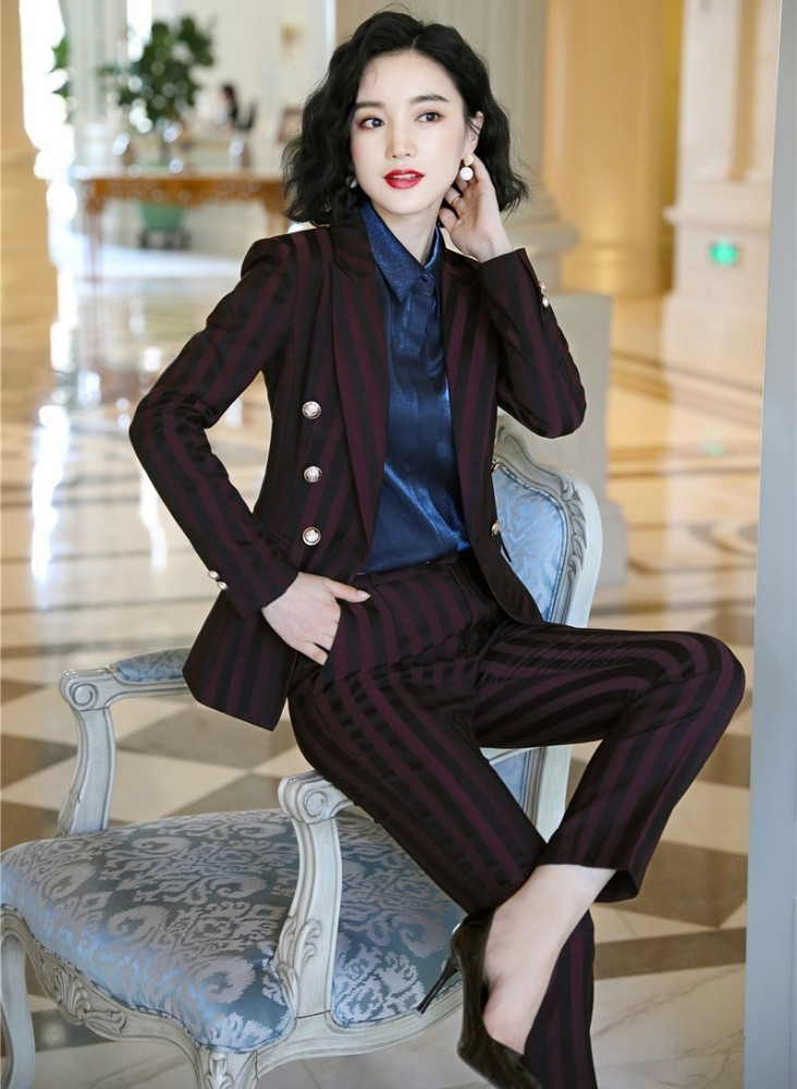 High Quality Fabric Novelty Wine Striped Women Business Suits with Pants and Blazer Coat Autumn Winter Professional Pantsuits 1