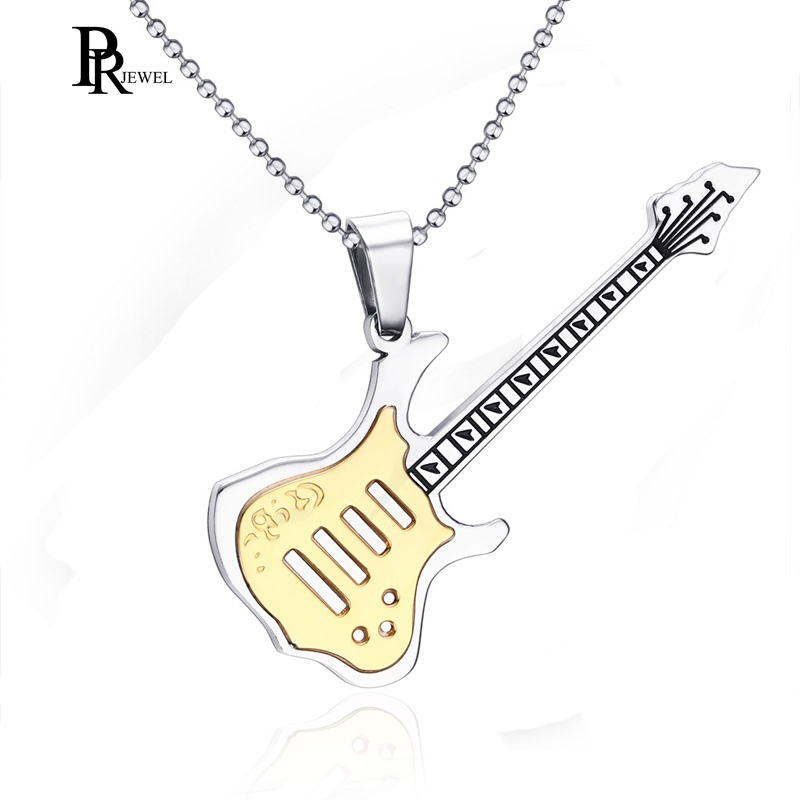 Men Women Music Jewelry R&B Rock Electric Guitar Bass Pendant Necklace