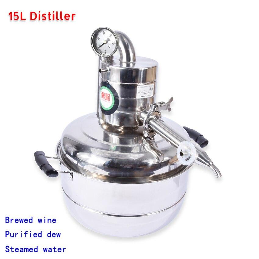 15L Alcohol Whisky Water Distiller Moonshine Stainless Steel Keg Spirits Brew Kit Household Vacuum Distillation Boiler