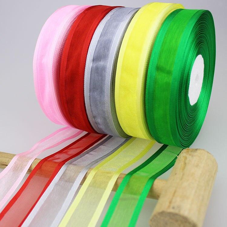 (50 ярдов/партия) 3/4 »(20 мм) широкая органза ленты оптовая продажа подарочная упаковка украшения ленты оптовая продажа