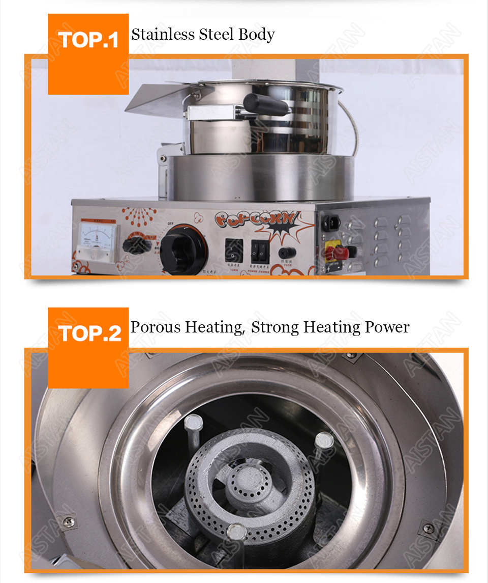 VBG701/VBG702 commercial stainless steel single head/double head gas popcorn machine for kitchen equipment 5