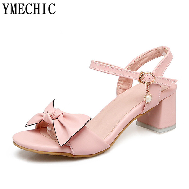 17a195b80778 YMECHIC Womens Sandals Butterfly-knot Lovely Cute Young Lady s Summer Shoes  Med Chunky Heels Pink