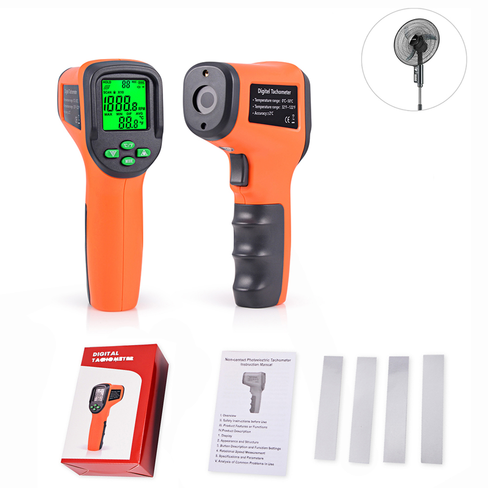 Tacómetro EHDIS 10-99999 RPM Metro Digital láser fotoeléctrico sin contacto tacómetro medidor de velocidad Auto velocímetro de coche