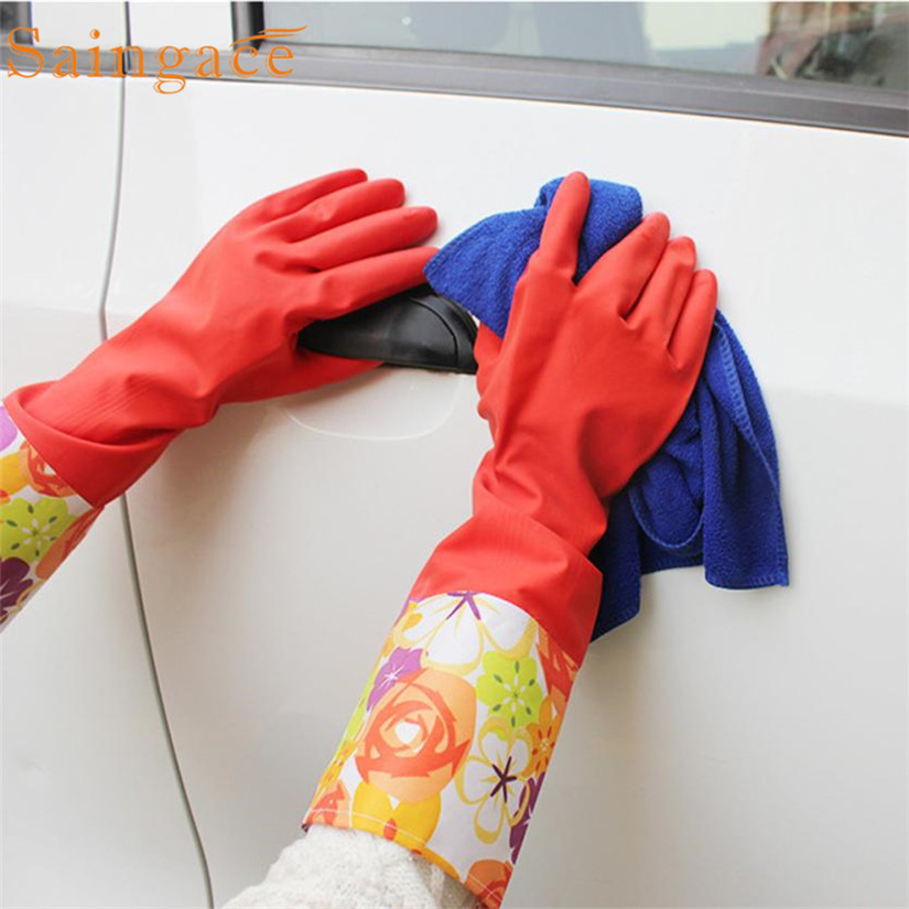 Not hurt the hand Rubber Latex Dish Washing Cleaning Long Warm Gloves Household Kitchen Car Gants en caoutchouc des menages ...