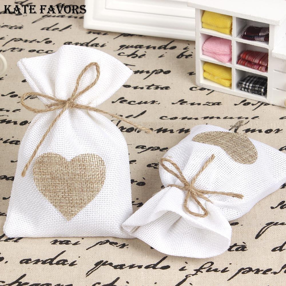 "Gift Bags Wedding: 12Pcs/Lot 10X14cm ""Love In Heart"" Burlap Favor Bags"