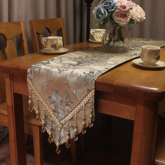 Superbe CURCYA Beige European Elegant Luxury Table Runner For Wedding / Custom Size  Jacquard Formal Table Runners